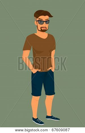 Hipster guy wearing stylish haircut