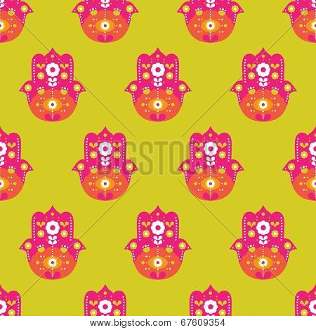 Seamless colorful hand of fatima arabic hamsa illustration background pattern print in vector