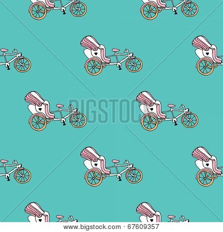 Seamless whimsical bike rickshaw illustration india theme background pattern in vector