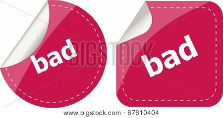 Bad Word On Stickers Button Set, Label