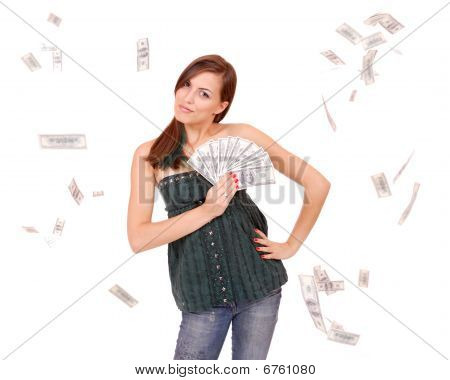 Attractive Woman Takes Lot Of 100 Dollar Bills