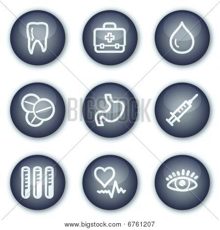 Medizin Web Icons set 1, mineralische Kreis buttons Serie