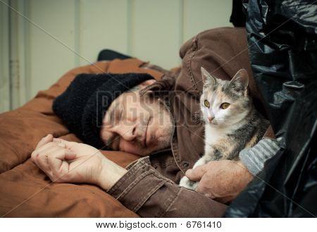 Homem sem-teto e simpático gatinho vadio