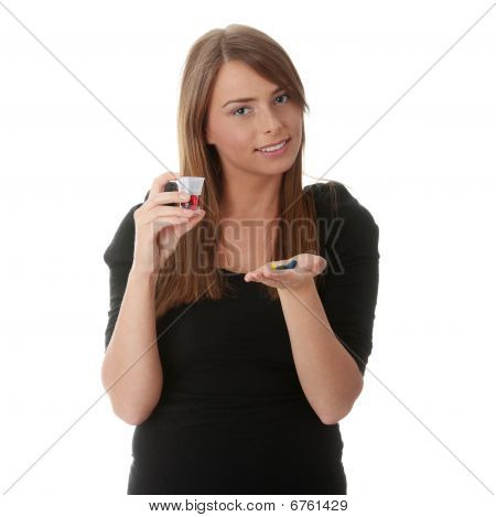 Young Woman Taking Drugs