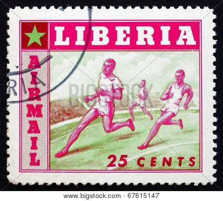 Postage Stamp Liberia 1955 Running, Sport