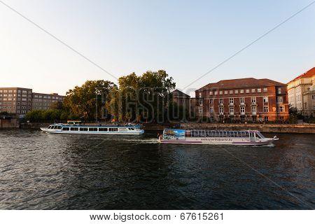 Tourist Boats In Spree River Berlin Germany