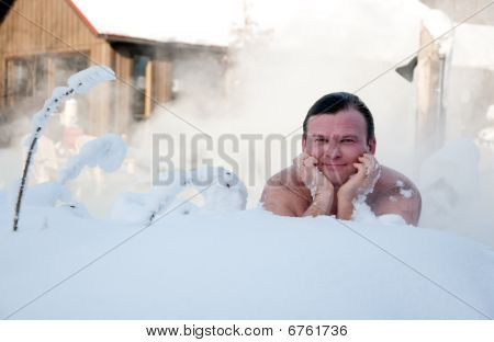 Snow Bath In Winter Spa