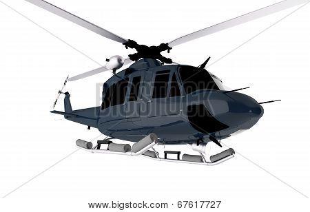 Dark Blue Chopper Isolated
