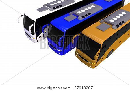 Three Colorful Buses On White