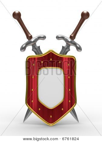Two Sword And Shield On White Background. Isolated 3D Image