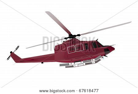 Red Rescue Chopper Isolated