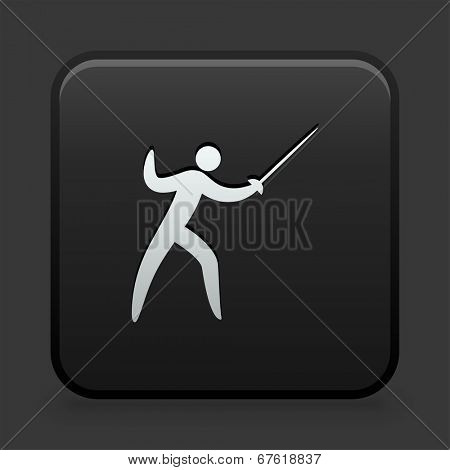 Fencing Icon on Black and White Button