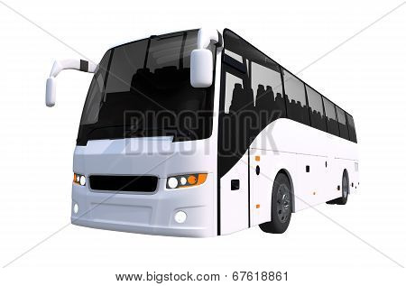 White Tour Bus Isolated