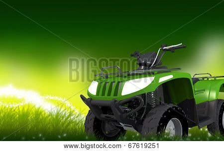 Atv On Grass Copy Space