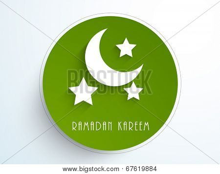 Stylish sticky with white crescent moon and stars on green background for holy month of Muslim community Ramadan Kareem.