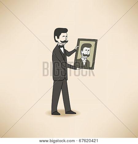 bilionaire with his portrait