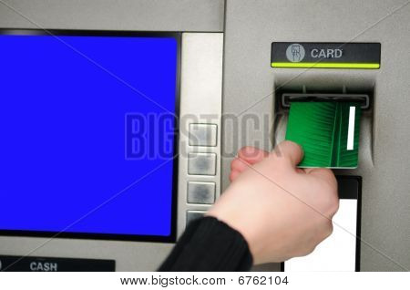 Inserting Plastic Card Visa Into Atm
