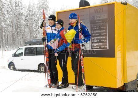 World Cup 2010 in Ski Orienteering. Podium of 1st round. Women.