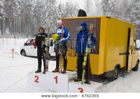 World Cup 2010 in Ski Orienteering. Podium of 1st round. Men.