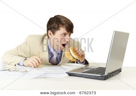 Young Man Is Going To Eat Sandwich Isolated On White