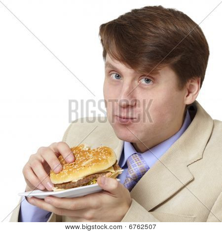 Young Businessman Is The Dinner Isolated On White Background