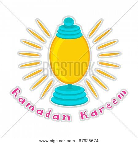 Illuminated lantern on beautiful abstract background for holy month of Muslim community Ramadan Kareem.