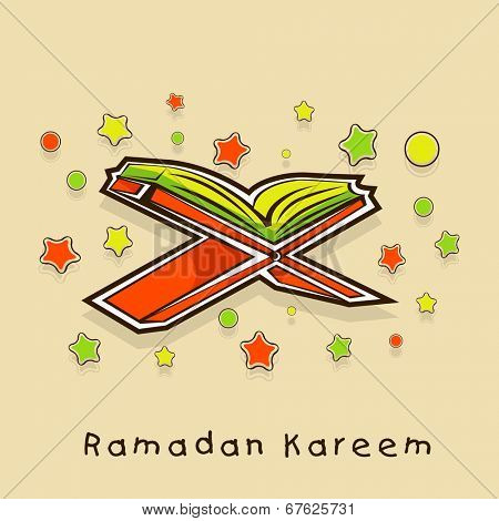 Religious islamic holy book Quran Shareef stars decorated beige background for holy month of Muslim community Ramadan Kareem.