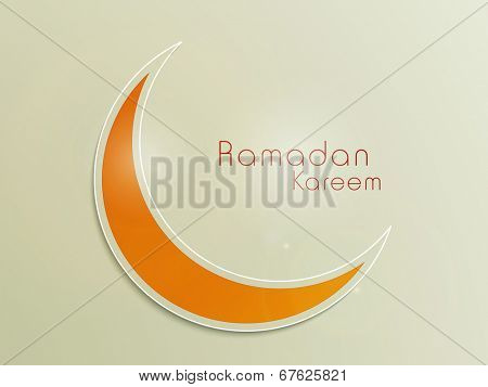Orange crescent moon on shiny green background for holy month of Muslim community Ramadan Kareem.