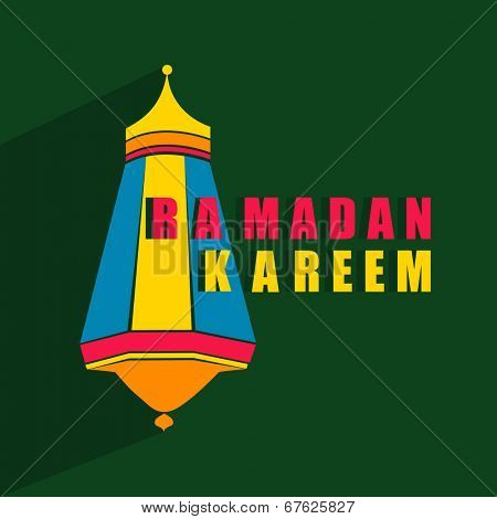 Colorful arabic lantern on green background for holy month of muslim community Ramadan Kareem.
