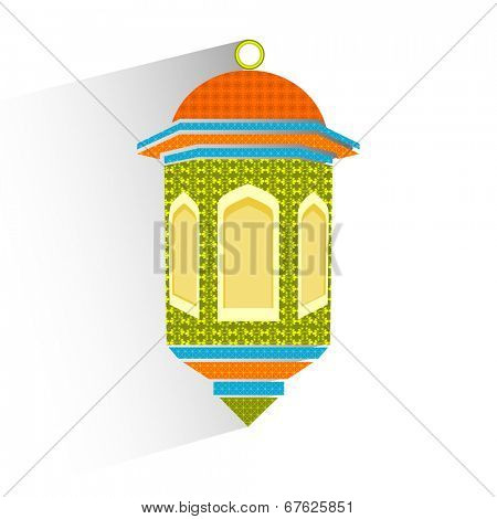 Intricate colorful lantern on white background for holy month of Muslim community Ramadan Kareem.