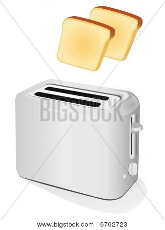Plastic electric toaster with toast