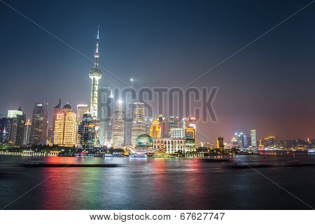 Night View Of Shanghai Skyline