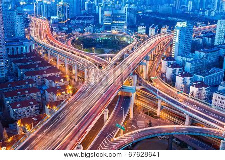 Beautiful City Interchange Closeup In Shanghai