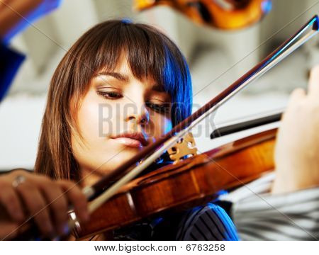 Beautiful Violinist Playing