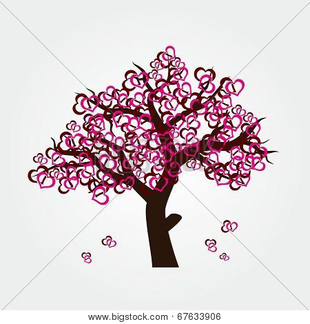 tree with hearths for valentine or wedding eps10
