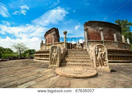 Historical Polonnaruwa capital city ruins