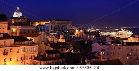 View of Lisbon at night, Alfama