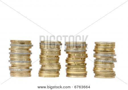 Four Coin Money Piles (isolated)