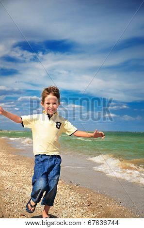 Laughing Boy Runs Towards And Set Up The Arms To The Side