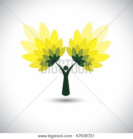 person and tree icon with green leaves - eco concept vector.