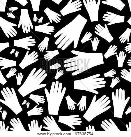 white hands seamless pattern eps10