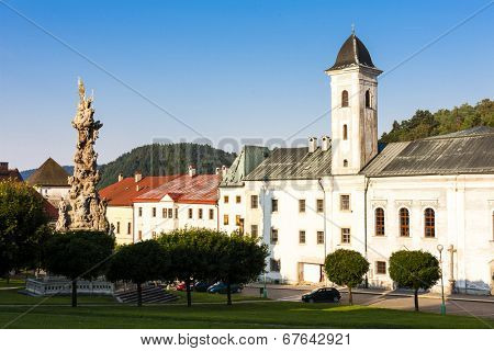 The Franciscan monastery and the plague column, Stefanik Square, Kremnica, Slovakia