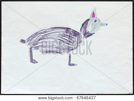 Original child's drawing of a husky dog or a wolf drawing by a five-year-old girl.