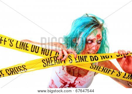 CAUTION ZOMBIES!!!! A blue haired member of the Un-Dead aka ZOMBIE Chews on and looks through Real