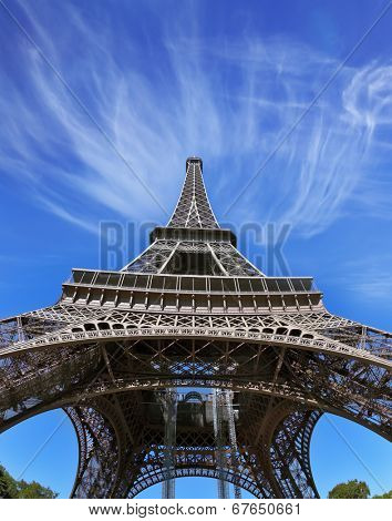 The best-known in the world - Eiffel Tower. It is picturesquely photographed from below by a lens a fish eye
