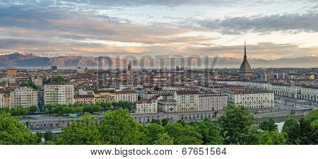 Turin (torino), Panorama At Sunrise