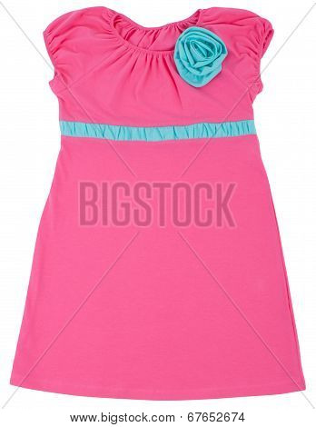 Little pink dress for child girls. Isolated