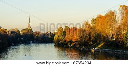 Turin (torino), Panorama With Mole Antonelliana And River Po