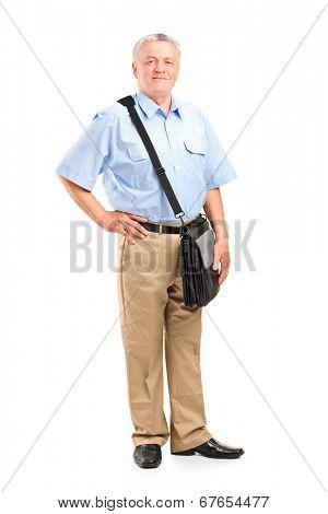 Full length portrait of a mature mailman posing isolated on white background