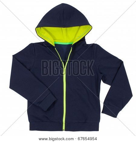 Blue hoodie design front isolated on white